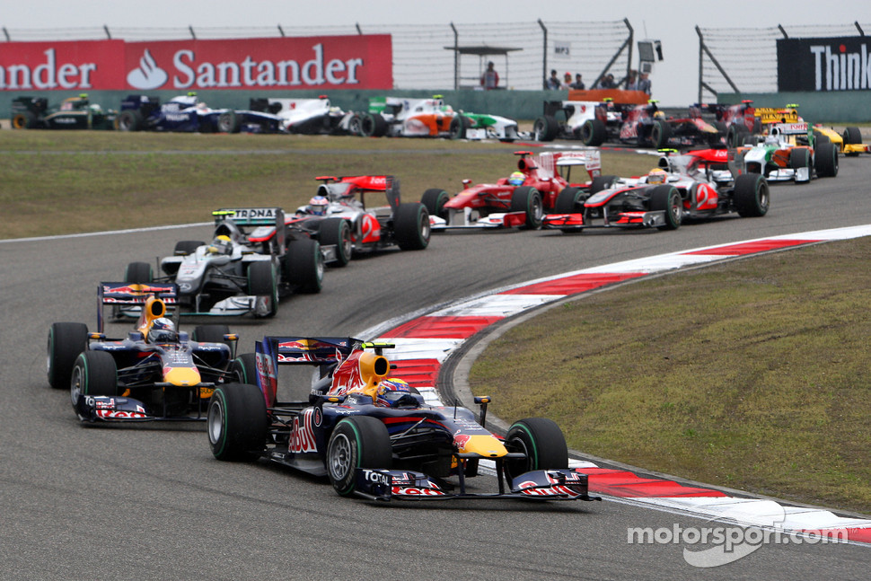 Mark Webber, Red Bull Racing leads Sebastian Vettel, Red Bull Racing