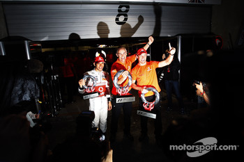 Race winner Jenson Button, McLaren Mercedes, celebrates with Lewis Hamilton, McLaren Mercedes, Martin Whitmarsh, McLaren, Chief Executive Officer and McLaren Mercedes team