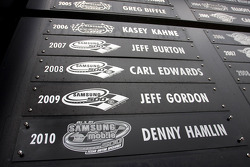 Race winner Denny Hamlin, Joe Gibbs Racing Toyota plate on the wall of winners