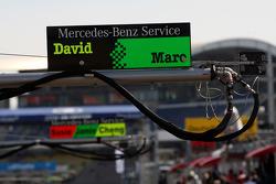 Pitsign of David Coulthard, Mücke Motorsport, AMG Mercedes C-Klasse and Maro Engel, Mücke Motorsport, AMG Mercedes C-Klasse