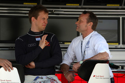 Mattias Ekström, Audi Sport Team Abt Audi A4 DTM in conversation with Volkswagen motorsport director Kris Nielsen