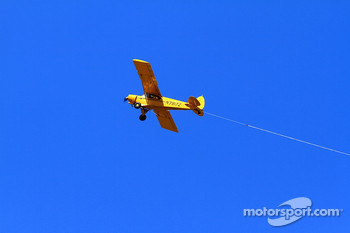 A old airplane flies over