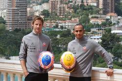 Jenson Button, McLaren Mercedes, Lewis Hamilton, McLaren Mercedes with Monaco editiion helmets and steering wheels with Steinmetz Diamonds