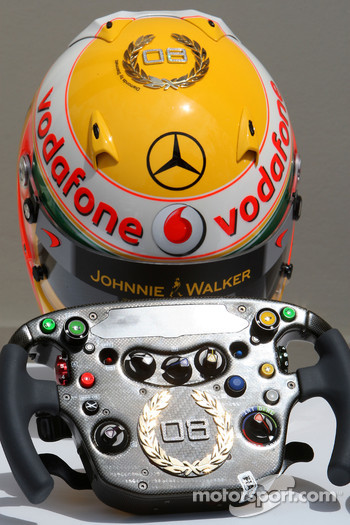 Lewis Hamilton, McLaren Mercedes, Monaco editiion helmets and steering wheels with Steinmetz Diamonds