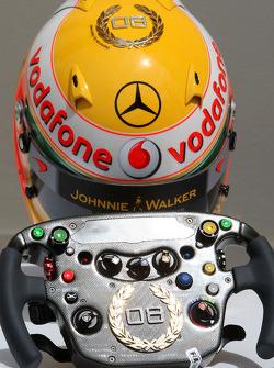 Lewis Hamilton, McLaren Mercedes, Monaco editiion helmets and steering wheels with Steinmetz Diamonds