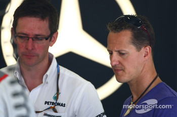 Andrew Shovlin, Mercedes GP, Senior Race Engineer to Michael Schumacher with Michael Schumacher, Mercedes GP