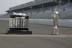 The Harely J. Earl Trophy and the Borg-Warner Trophy sit at the famous Yard of Bricks at the Indianapolis Motor Speedway