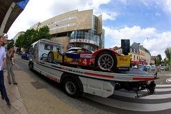 #4 Team Oreca Matmut Peugeot 908 is taken back to the track