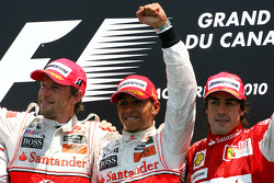 Podium: race winner Lewis Hamilton, McLaren Mercedes, second place Jenson Button, McLaren Mercedes and third place Fernando Alonso, Scuderia Ferrari