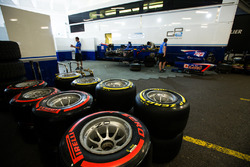 Pirelli tyres in front of Carlin garage