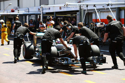 Lewis Hamilton, Mercedes AMG F1 W07 Hybrid is pushed back down the pit lane