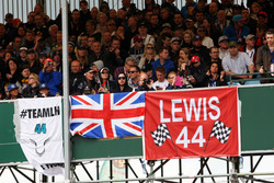 Banners and flags for Lewis Hamilton, Mercedes AMG F1