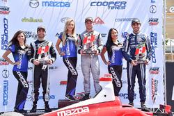 Podium: race winner Felix Rosenqvist, Belardi Auto Racing, second place André Negrao, Schmidt Peterson Motorsports, third place Kyle Kaiser, Juncos Racing