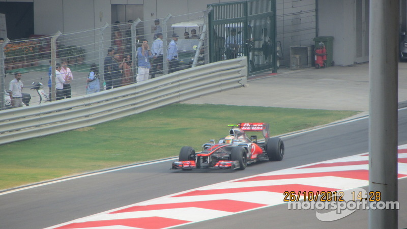 Hamilton exiting the pits at the BIC