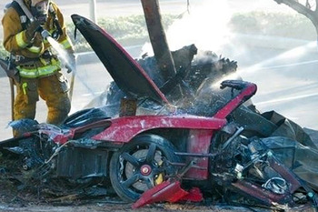 Crashed Porsche of Paul Walker and Roger Rodas