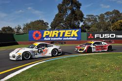 John Morriss (Porsche GT3-R) leads Dean Koutsoumidis (Audi R8 LMS GT3)
