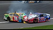 Busch and Logano crash at Kansas!