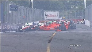 Pileup at start of IndyCar race - 2014 Toronto Race 1