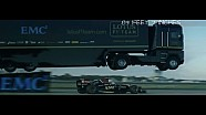 F1 transporter jumps speeding Lotus F1 car in epic world-record stunt!