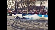 Lewis Hamilton and Nico Rosberg perform donuts