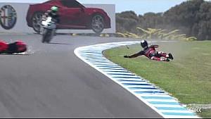 Troy Bayliss highsides on World Superbike return