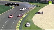 Porsche Carrera Cup 2015 Albert Park Race 1 oil chaos