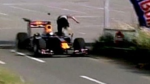 Stupid Marshall Gets Run Over By F1 Car