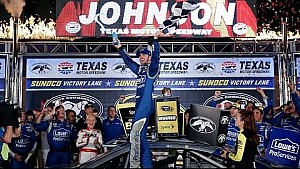 Johnson celebrates in Victory Lane at Texas