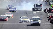 NASCAR safety truck hits car on pit road