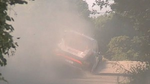 Robert Kubica crashes a camera at Rally Germany