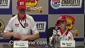 Kasey Kahne crew chief Keith Rodden dances during press conference