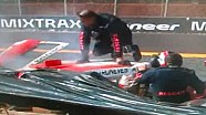 Helio Castroneves crashes in Brazilian stock-car, in Ribeirao Preto
