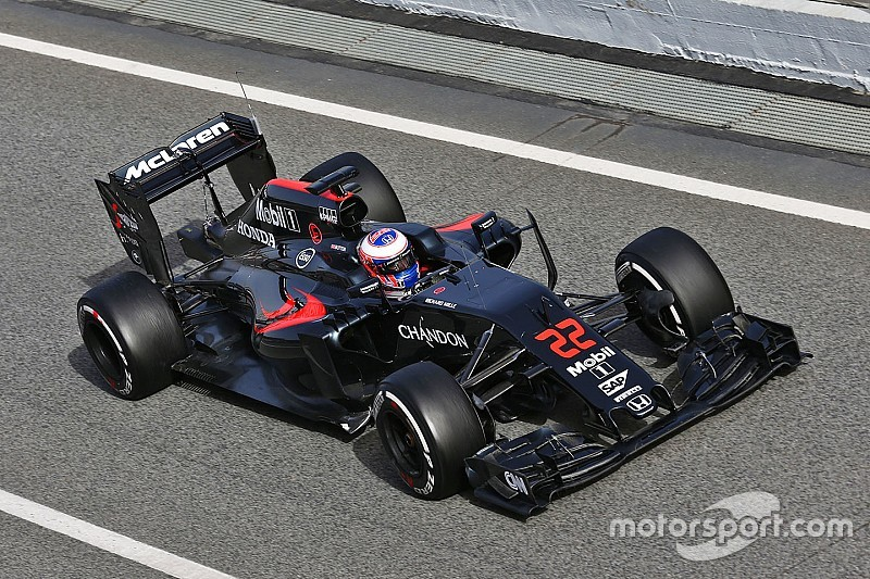 Button completes 84 laps on inaugural day of pre-season test at Barcelona