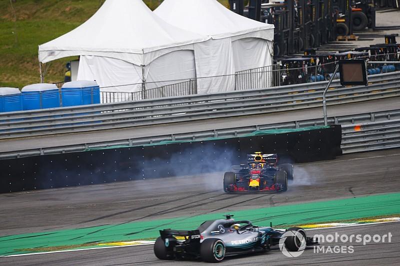 Hamilton vence no Brasil após toque de Ocon com Verstappen