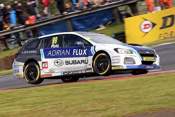 BTCC Race report Knockhill BTCC: Plato wins Race 1 after last turn Subaru swap