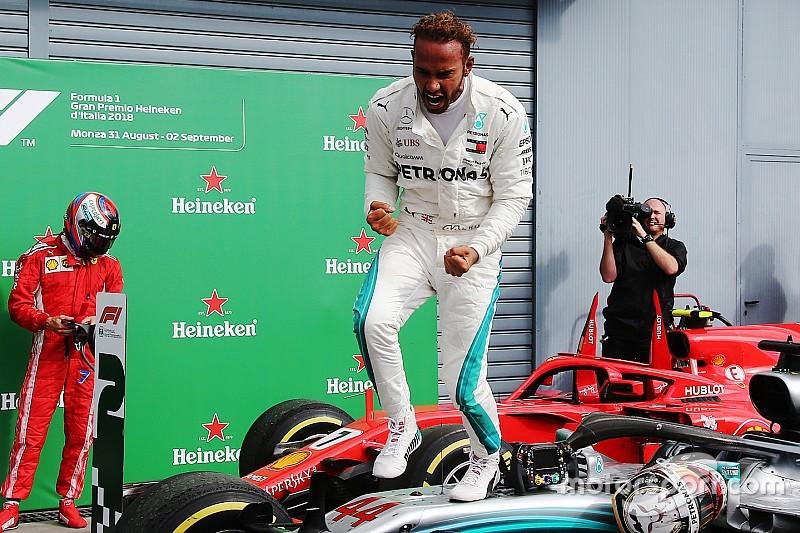 Hamilton le arruinó la fiesta a Ferrari en Italia