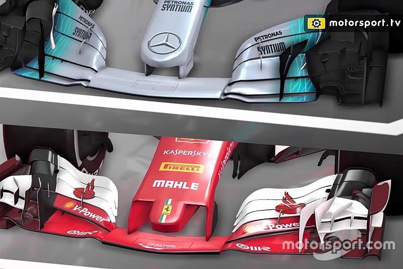 Video-analyse: De verschillen tussen de F1-filosofieën van Mercedes en Ferrari