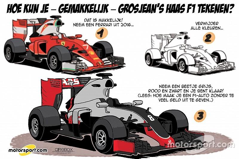 Cartoon van Cirebox: Hoe kun je - gemakkelijk - Grosjean's Haas F1 tekenen?