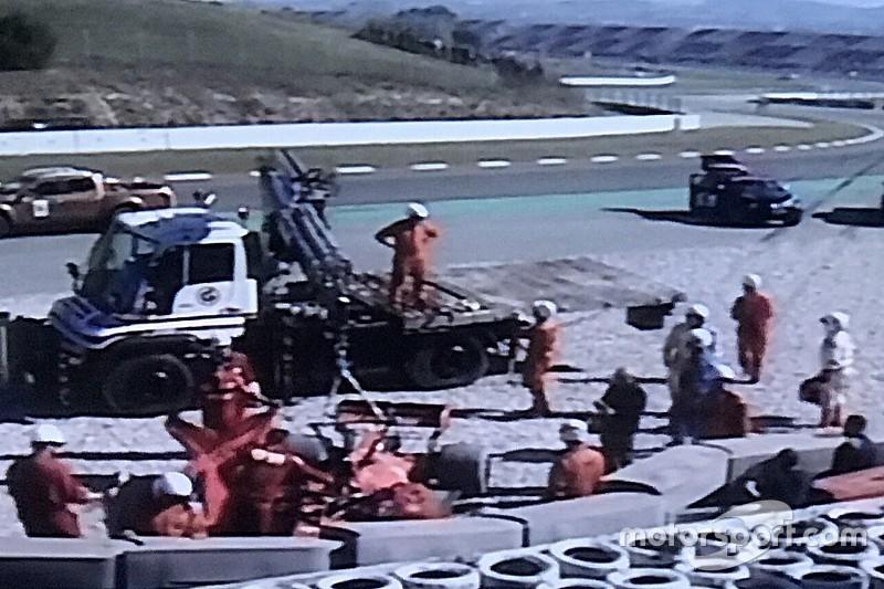 Paura Ferrari: Vettel esce di pista e sbatte per un cedimento alla curva 3
