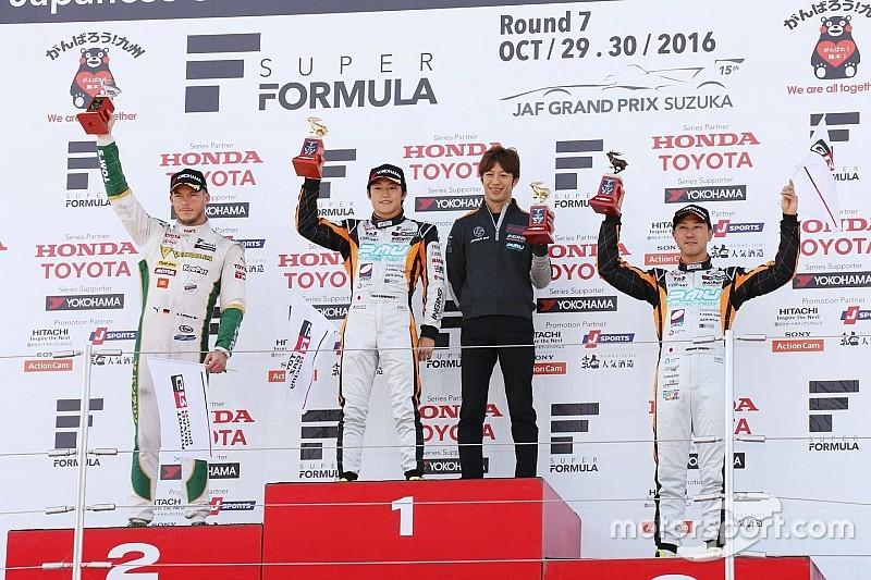スーパーフォーミュラ最終戦レース1トップ3会見:国本「スタートは完璧、満足できたレースだった」