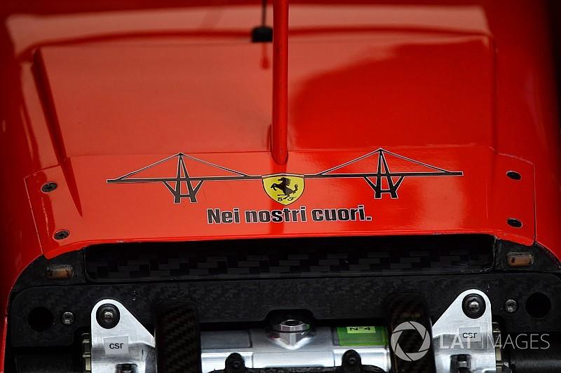 Ferrari: sulla Rossa c'è un bel tributo per le vittime del ponte di Genova