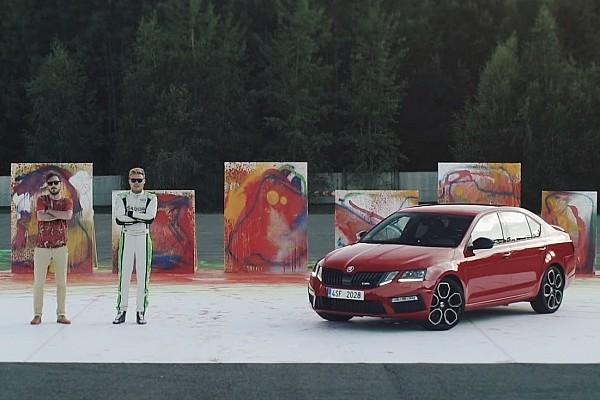 Automotive WRC2 champion creates abstract art with Skoda Octavia RS 245