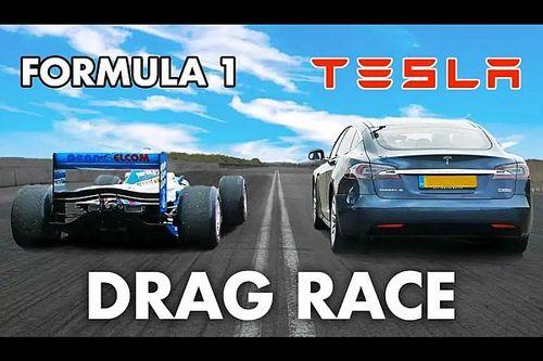 La Tesla Model S sfida addirittura una Formula 1 in accelerazione