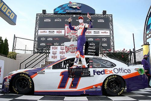 Denny Hamlin claims first Dover Cup win with late pass of Truex