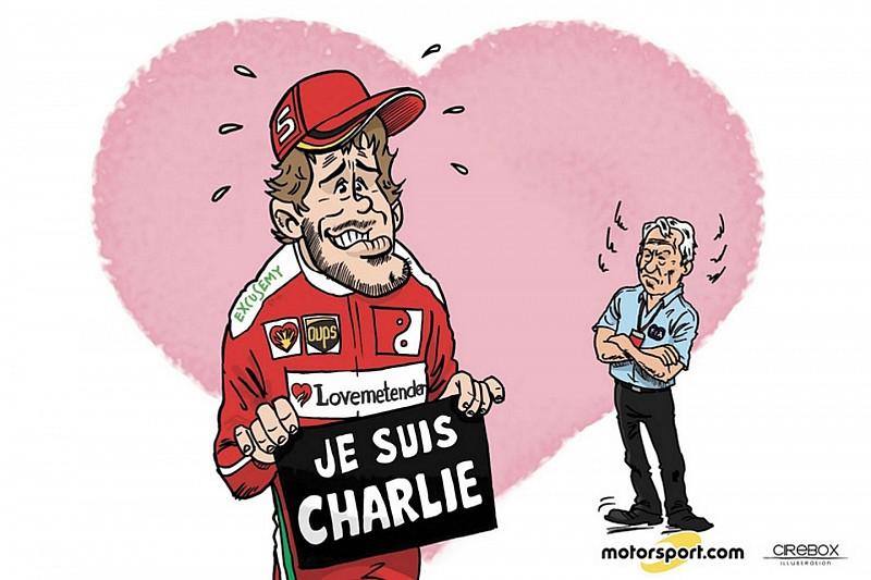 Cartoon van Cirebox - De excuses van Sebastian Vettel