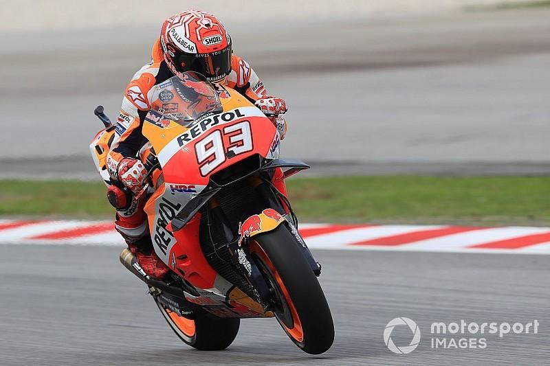 Marquez imprendibile: cade ma fa la pole anche a Sepang davanti a Zarco e Rossi