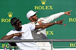 Formula 1 Special feature Story behind the photo: Hamilton does the 'Lightning Bolt'