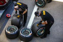Pirelli engineers work on some tyres