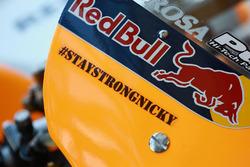 Stay Strong Nicky' Hayden sticker on Pedrosa's bike