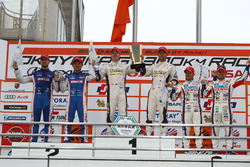GT500 podium: winners Ryo Hirakawa, Nick Cassidy, Team Tom's, second place Kazuya Oshima, Andrea Caldarelli, Team LeMans, third place Kohei Hirate, Heikki Kovalainen, Team Sard